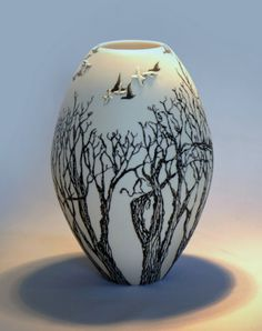Eunice Botes ceramics On top of the tree branches - white porcelain with sqraffito and sprigs click now for more. Glazes For Pottery, Pottery Bowls, Ceramic Pottery, Pottery Art, Glazed Pottery, Ceramic Pots, Ceramic Tableware, Porcelain Ceramics, Fine Porcelain