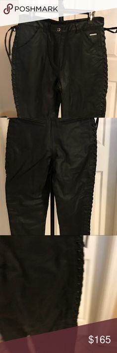 NWOT Harley-Davidson Genuine leather braided pants NWOT Harley-Davidson Genuine leather, braided pants. I can't recall where i got these. But they are New-never worn, but some fool removed tag and ground off logo, but Biker's know. You can still make out emblem. These are Serious biker leathers... and if my fluffy butt will fit into them before they sell... back in my closet they go! Braided leather down each leg... vented! Lined, Awesome thick H-D quality! Harley-Davidson Pants