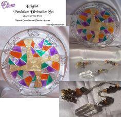 Brighid's Cross Pendulum Divination Ser - Quartz Crystal / Carnelian/ Charoite, by Eliora