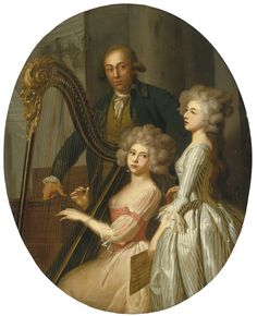 Marie-Victoire Lemoine - A group portrait with a young woman playing the harp, another young woman singing, and a gentleman, possibly their music instructor, standing behind Couple Painting, Woman Painting, 18th Century Fashion, 19th Century, Old Master, Renaissance Art, Baroque, Fine Art America, Modern Art