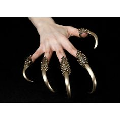Predator Rings (5-piece set) ($900) ❤ liked on Polyvore featuring jewelry, rings, finger tip rings and fingertip rings
