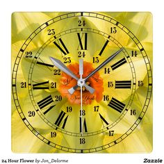 24 Hour Flower Square Wall Clock