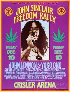 1970 John Sinclair Freedom Rally Poster (Ann Arbor, MI) — with John Lennon & Yoko Ono, Stevie Wonder, Bob Seger & more