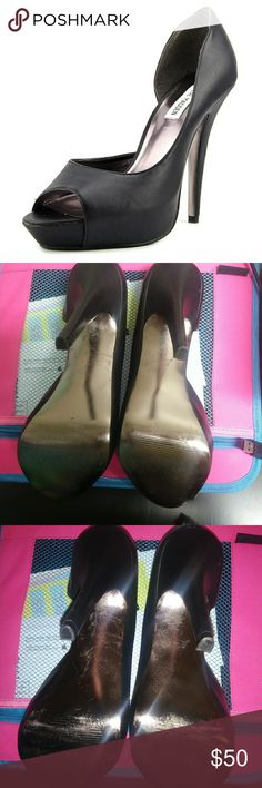 NEW Steve Madden Emele Open Toe Black Heels Brand new without box, soles have some marks from storage but they have never been used. Comes from a smoke free, pet free home ! Steve Madden Shoes Heels