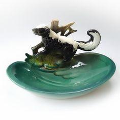 Vintage Napco Skunk Figurine Dish Rare by MrFilthyRotten on Etsy, $25.00