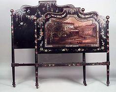 English Papier-mache bed full-size lacquer