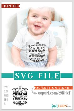 Made in Canada with American Parts SVG cut file for cameo, cricut, craft cutter. Instant OFF on newsletter subscription. Cricut Air, Cricut Craft, Crafts To Make And Sell, How To Make, Craft Cutter, Baby Svg, Vinyl Paper, Great Logos, Halloween Signs