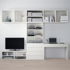 Perfect storage and tv unit for a second small living room or rumpus room Ikea Storage, Media Storage, Record Storage, Kids Room Furniture, White Furniture, Home Office Design, House Design, Ikea Tv, Ikea Living Room