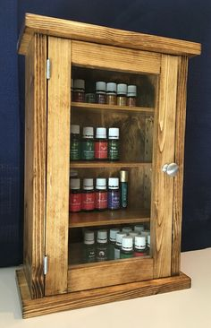 Table-Top, Oil-Finished, Glass-door, Essential Oils Storage Cabinet