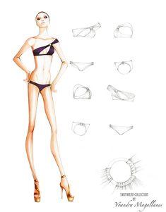 New Fashion Sketches Swimwear Behance Ideas Fashion Model Sketch, Fashion Design Sketchbook, Fashion Design Drawings, Fashion Sketches, Lingerie Illustration, Fashion Illustration Sketches, Illustration Mode, Illustrations, Fashion Figure Drawing