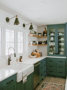 Kitchen Interior Design Green with envy - Straight to the inspiration files. That's what I thought when I saw this lovely farmhouse kitchen by Jaclyn Peters Design. The unusual grey green cabinets, vertical shiplap walls, the warm wood accent Dark Green Kitchen, Green Kitchen Cabinets, Farmhouse Kitchen Cabinets, Modern Farmhouse Kitchens, Home Kitchens, Kitchen Backsplash, Kitchen Modern, Kitchen Fixtures, Backsplash Design