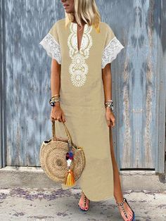 Women Lace Patchwork Short Sleeve V-Neck Baggy Boho Split Hem Maxi Dress - Power Day Sale Boho Outfits, Mode Kimono, Vintage Dresses Online, Dress Vintage, Bohostyle, Long Summer Dresses, Dress Summer, Long Dresses, Look Boho