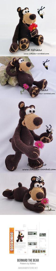 Bernard The Bear Amigurumi Pattern und tricks kochen Crochet Teddy, Knit Or Crochet, Crochet For Kids, Crochet Crafts, Crochet Projects, Crochet Animal Patterns, Crochet Patterns Amigurumi, Crochet Dolls, Knitted Animals