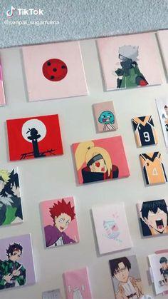 Otaku Anime, Anime Guys, Anime Art, Mini Canvas Art, Diy Canvas, Anime Crafts, Cute Room Ideas, Animal Nursery, Haikyuu Anime