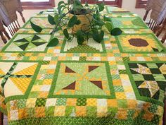 It's spring inside my home with this Irish Great-Grandpa Sampler Quilt that I use as a tablecloth in March.         even though it'...