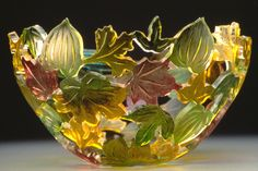 """""""Woodlands"""" Art Glass Bowl Created by Ann Alderson Biba A flurry of fall color in blown glass, carved and painted with fired-on pigments. Fused Glass Plates, Fused Glass Art, Glass Ceramic, Stained Glass Art, Glass Bowls, L'art Du Vitrail, Woodland Art, My Glass, Hand Blown Glass"""