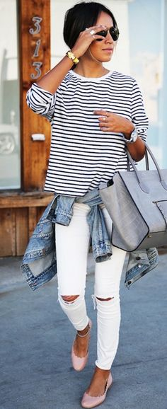 stripes + ripped denim
