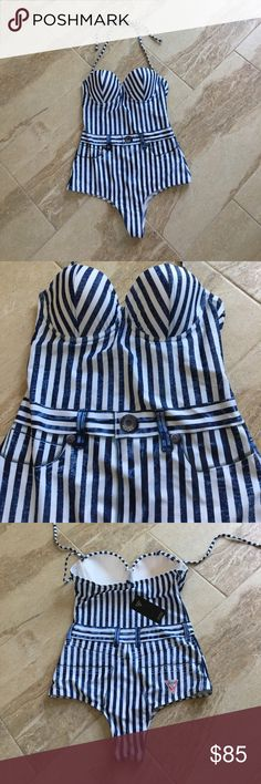 Guess one piece bathing suit NEW with tag! Guess one piece bathing suit NEW with tag! Has a lightly padded top and the straps are removable! Size small. Guess Swim One Pieces