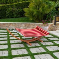 Found it at Wayfair - Cantina Wood Arc Hammock with Striped Polyspun Quilted Bed