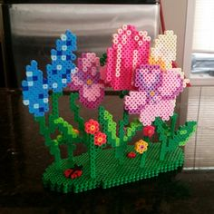 3D Flower garden perler beads by BreeBeer