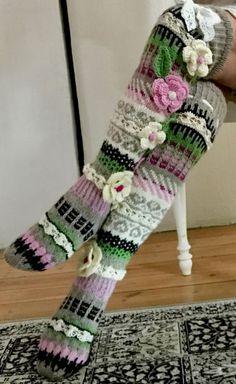 Over The Knee SocksThigh High SocksHand knit knee socks Knitting Socks, Hand Knitting, Knitting Patterns, Crochet Patterns, Crochet Ideas, Thigh High Socks, Knee Socks, Thigh Highs, Boot Socks