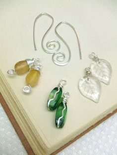 Interchangeable Earrings Convertible Earrings 3 Pairs Silver Earrings Wire Wrap Jewelry Hammered Spirals Leaves Green Yellow Handmade. $22.95, via Etsy.