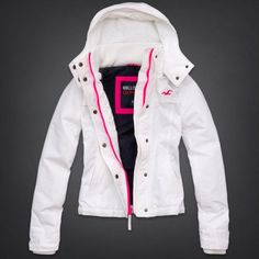 White and Pink Hollister Winter Jacket
