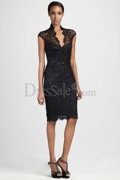 Fabulous Column Black Lace Overlaid Cocktail Dress with Illusion Detail