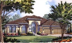 Ranch House Plan Front of Home for Home Plan also known as the Palmdale Luxury Sunbelt Home from House Plans and More. Tuscan House Plans, Mediterranean House Plans, Mediterranean Design, House Plans And More, House Floor Plans, Plan Front, Monster House Plans, Rustic Italian, Contemporary House Plans
