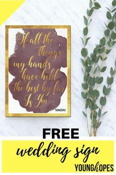 free wedding sign printable Got Married, Getting Married, Wedding Planning Guide, Free Wedding, Wedding Signs, Save The Date, Free Printables, Wedding Invitations, Wedding Decorations