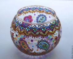 """Купить Подсвечник """"Цветные сны"""" - подсвечник из стекла, азия, индия, восток, восточный стиль"""