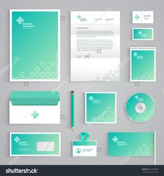 Abstract Pharmacy vector stationery design on light green background. Business documentation Source by thecrazed - Corporate Identity Design, Brand Identity Design, Medical Office Design, Pharmacy Design, Web Design, Logo Design, Graphic Design, Magazine Ideas, What Is Fashion Designing