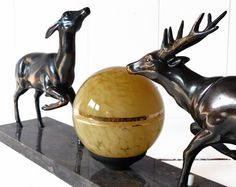 What an artistic lamp. I love this lamps presents, beauty, and style.   lamps-lamps-lamps:  Vintage Large Art DECO french table LAMP with a Deer by LaLoupiote)
