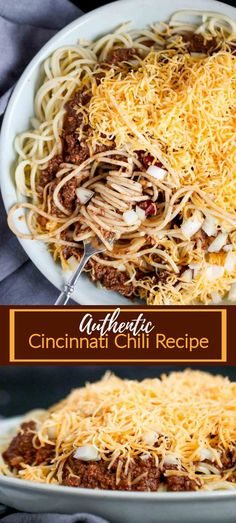 Authentic Cincinnati Chili is a meaty, rich, and uniquely spiced chili from (you guessed it! It's served over hot spaghetti with your choice of toppings. Don't forget the cheese and oyster crackers! Copycat Recipes, Soup Recipes, Pasta Recipes, Beef Recipes, Cooking Recipes, Ground Beef Crockpot Recipes, Chicken Recipes, Vegetarian Crockpot Recipes, Chilli Recipes