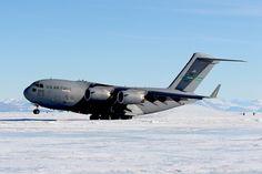 A C-17 Globemaster III aircraft lands on Pegasus Runway in Antarctica