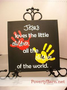 $25 Jesus loves the little children canvas art. This is a fundraiser piece for my niece's mission trip that is now available in our Etsy shop.