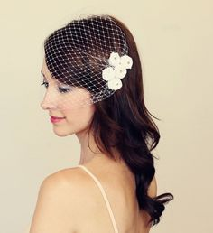 shabby rosette bridal hair piece in white  5 by TheSunflowerStand, $65.00