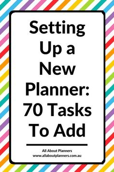 How to set up a new planner: 70 Tasks to Add ie., checklist tasks reminders goals don't forget tips ideas hacks decorating tips To Do Planner, Planner Pages, Happy Planner, Printable Planner, Planner Stickers, Printables, House Planner, Organized Planner, College Planner