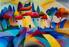 Le village - Painting,  38x46 cm ©2009 par Zac -  Peinture, Huile Graffiti, Le Village, Art Original, Oeuvre D'art, Les Oeuvres, Mosaic, Art Gallery, Canvas, Artwork
