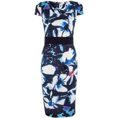 Closet Floral Contrast Tie Dress, Blue ($58) ❤ liked on Polyvore featuring dresses, special occasion dresses, bodycon dress, floral midi dress, midi dress and cap sleeve dress