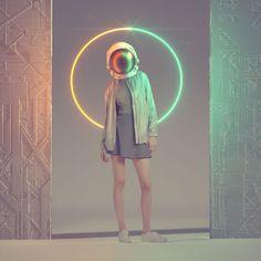Space Girl, Futuristic Art, Poses, Light Painting, Cinema 4d, Cyberpunk, Fashion Art, Concept Art, Art Photography