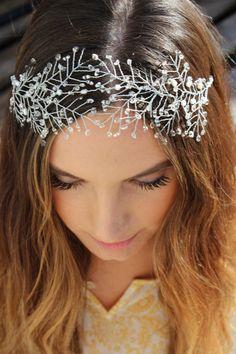 Items similar to Boho Silver Crystal Beaded Hair Crown, Handmade Silver Hair Crown, Handmade Silver Headband on Etsy Hair Jewelry, Wedding Jewelry, Beaded Jewelry, Silver Headband, Silver Hair, Crown Hairstyles, Wedding Hairstyles, Diy Crafts Knitting, Long Hair Wedding Styles