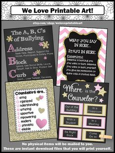 """These printable posters make great gifts for back to school, Christmas, end of the year or any time of year. You will receive the ABC's of Bullying, Counseling Confidentiality Rules, """"Counselors are..."""" sign, and a """"Where is the Counselor?"""" door sign. Attach a clothespin to the appropriate place on the poster."""