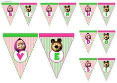 Kit Imprimible Modificable Masha Y El Oso Fiesta Cumple - $ 40,00 en Mercado Libre Party Cartoon, Masha And The Bear, Bear Party, Bear Birthday, Cartoon Characters, Cool Kids, Maya, Playing Cards, Banner