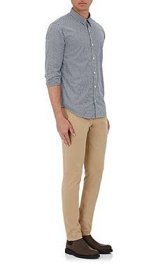 Barneys Warehouse Gingham Cotton Jacquard Shirt - New York XL 51883d46a599