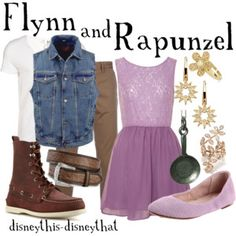 Flynn and Rapunzel A fashion look from June 2012 featuring Glamorous dresses, Bloch flats and Lisa Freede rings. Browse and shop related looks. Disneybound Outfits, Disney Outfits, Disney Clothes, Disney Costumes, Disney Inspired Fashion, Disney Fashion, Disney Dress Up, Estilo Disney, Oufits Casual