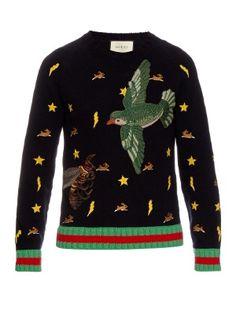 9e6d04c35 Gucci Motif-embroidered wool sweater Moda De Invierno
