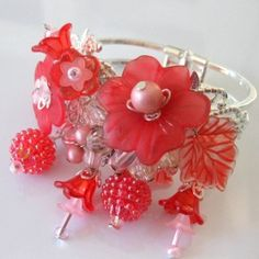CUSTOM PINK EARRING AND RED FLOWER CUFF 1