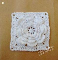 Tecendo Artes em Crochet: Passo a Passo do Square Flor Branca! Step by step crochet flower square in white