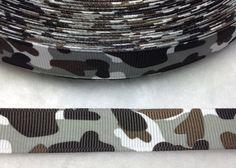 4 Yards of 5/8 Grey Military Camo Ribbon 5/8 by ribbonguru on Etsy, $3.25